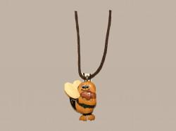 Collier cordon abeille en bois